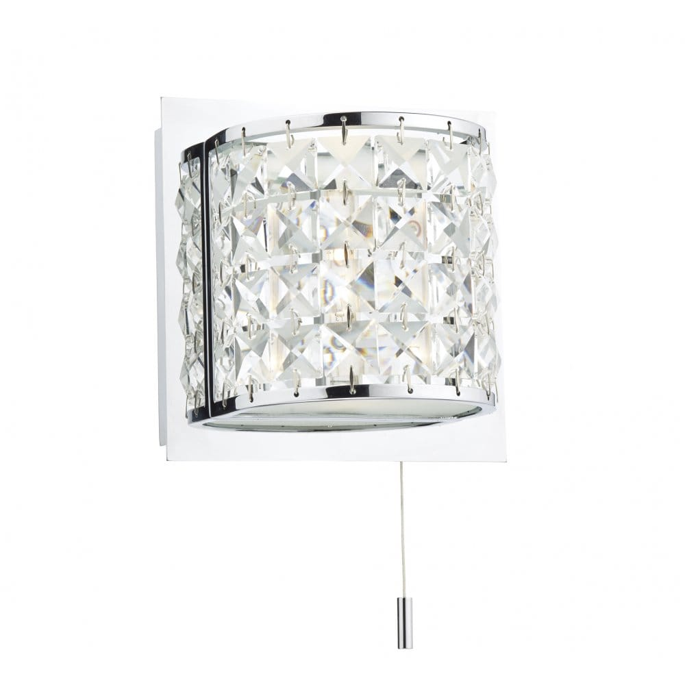 Decorative Led Bathroom Wall Light In Chrome With Crystal