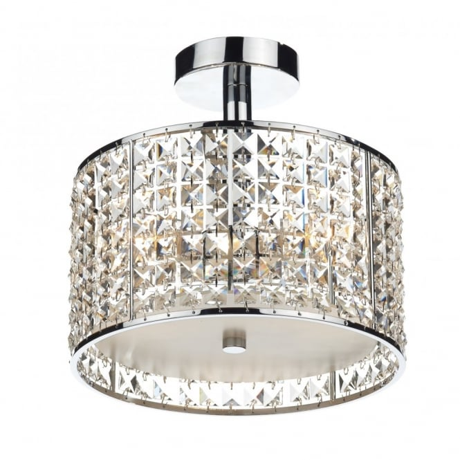 Modern Bathroom Ceiling Light, Chrome & Crystal Design. IP44 Rated.