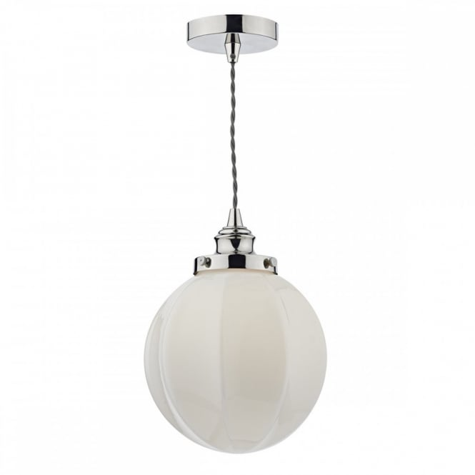 The Lighting Book RIB modern polished nickel ceiling pendant with opal glass ribbed globe shade