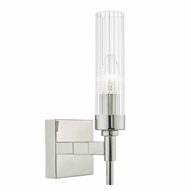 The Lighting Book RIKARD polished nickel wall light with ribbed tubular glass shade
