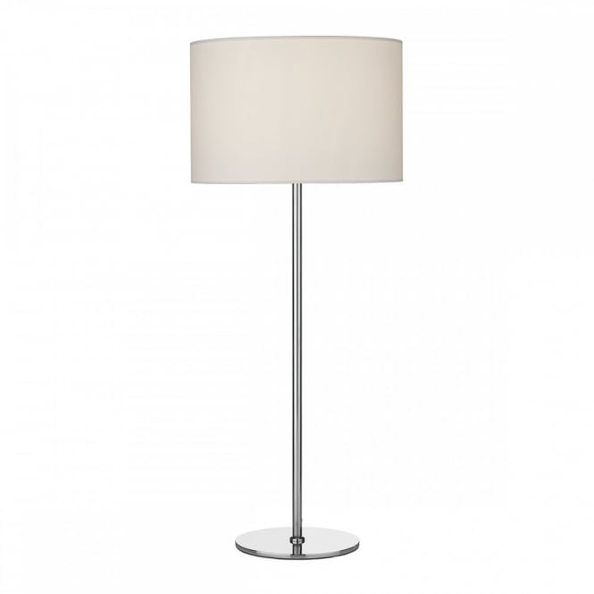 RIMINI Modern table lamp in chrome complete with ivory drum shade