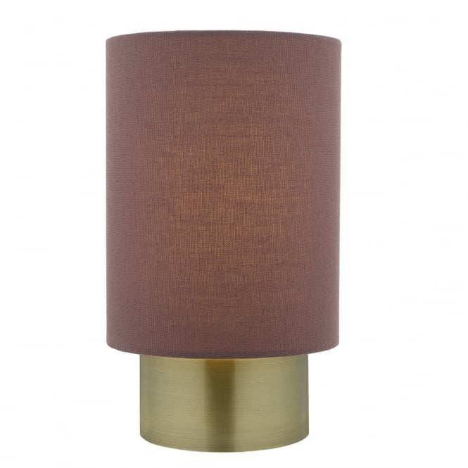 The Lighting Book ROBYN contemporary antique brass touch lamp with plum shade