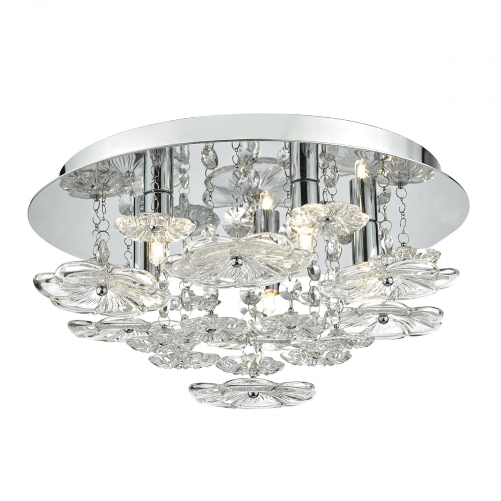 Chrome And Clear Glass Floral Ceiling Light