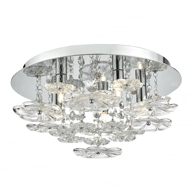 The Lighting Book ROCHELLE 5 light glass flower and polished chrome ceiling light