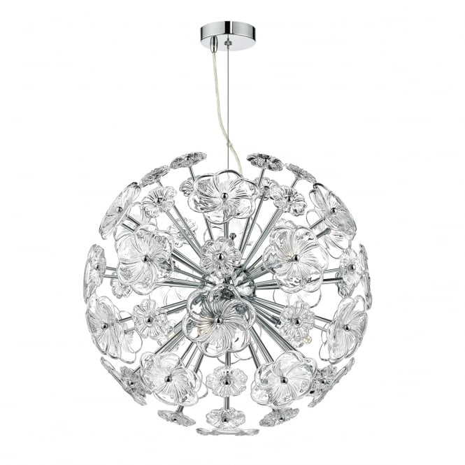 The Lighting Book ROCHELLE glass floral globe pendant with chrome structure