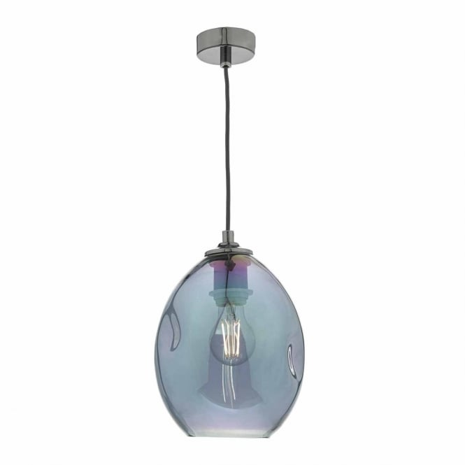 ROGAN contemporary black and iridescent glass ceiling pendant