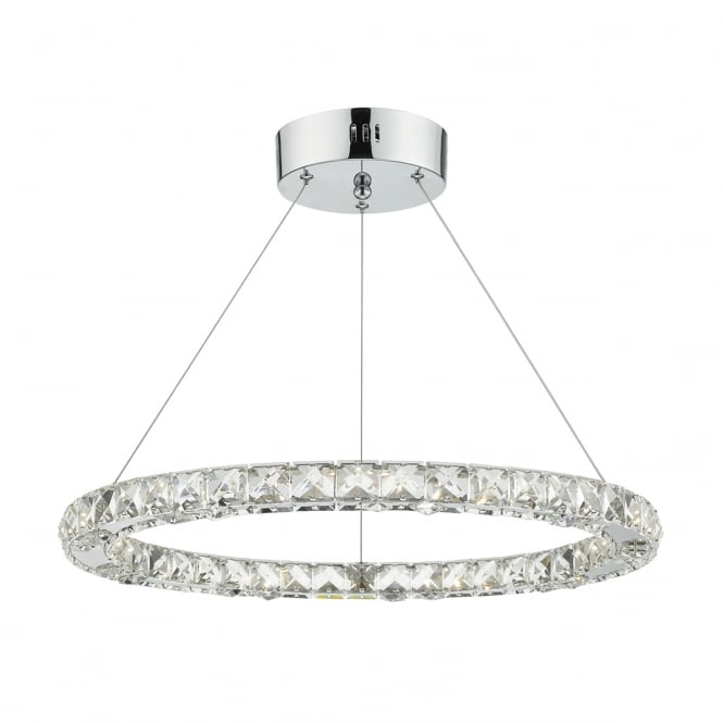 The Lighting Book ROMA round polished chrome and crystal LED ceiling pendant