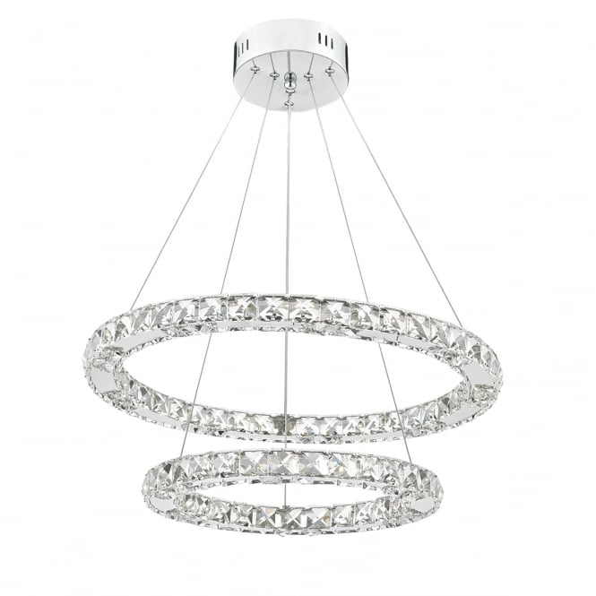 The Lighting Book ROMA two tiered crystal LED ring ceiling pendant with chrome frame