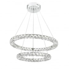 crystal LED ring two tier ceiling pendant