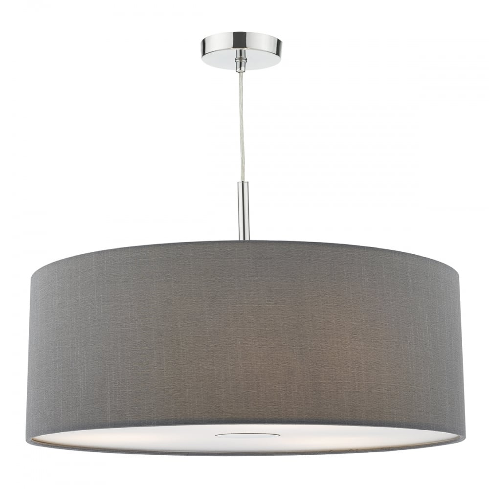 Contemporary Large Grey Faux Silk Drum Shade Ceiling