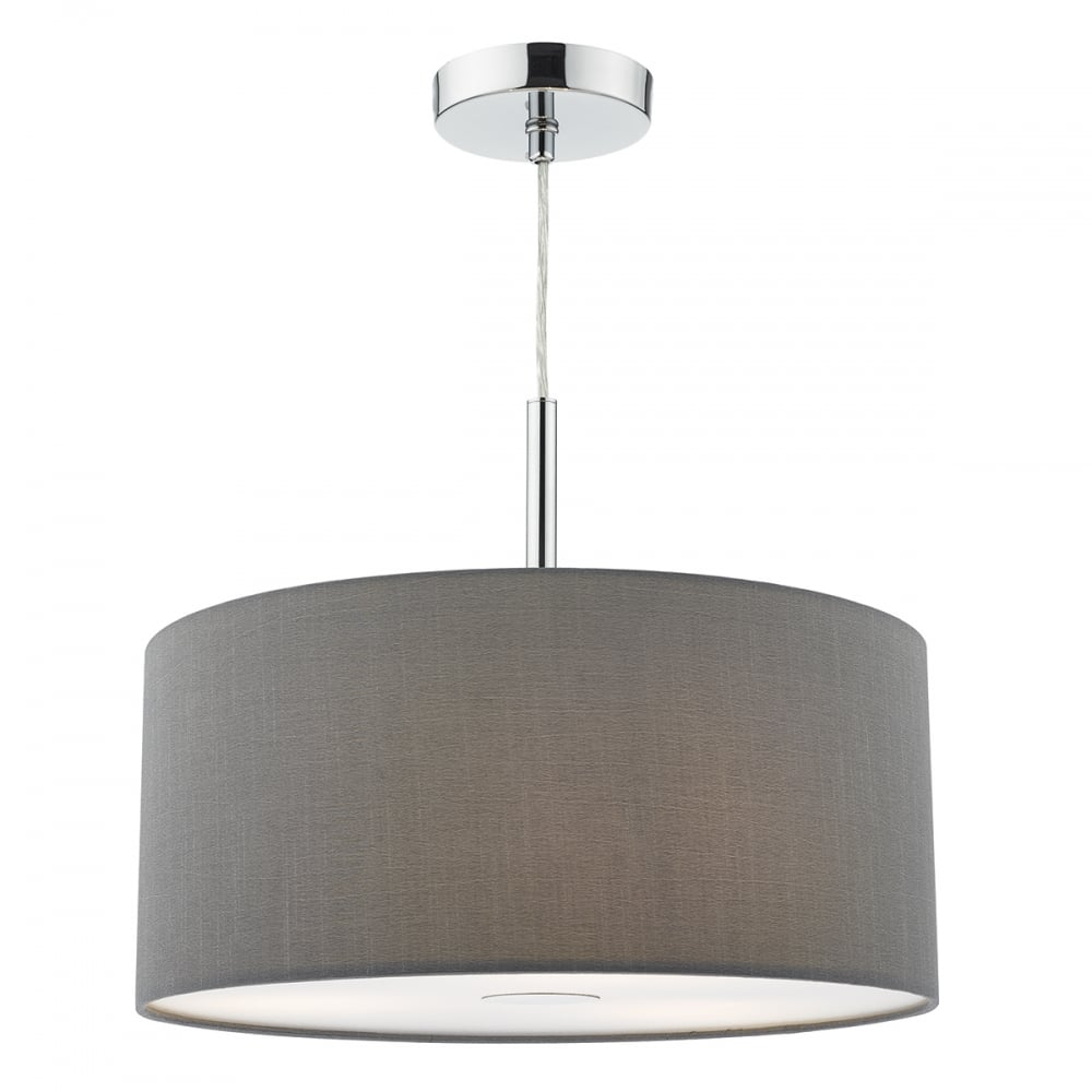 Contemporary Grey Faux Silk Drum Shade Ceiling Pendant Light