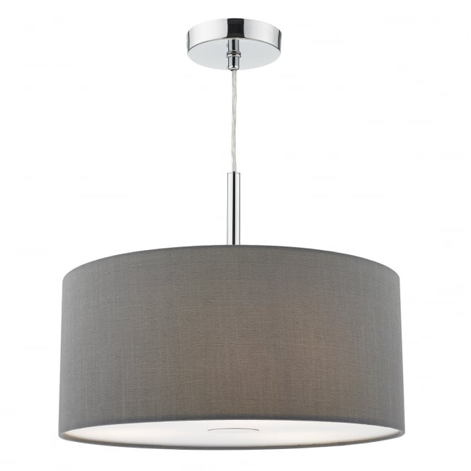 The Lighting Book RONDA 3 light grey faux silk ceiling pendant