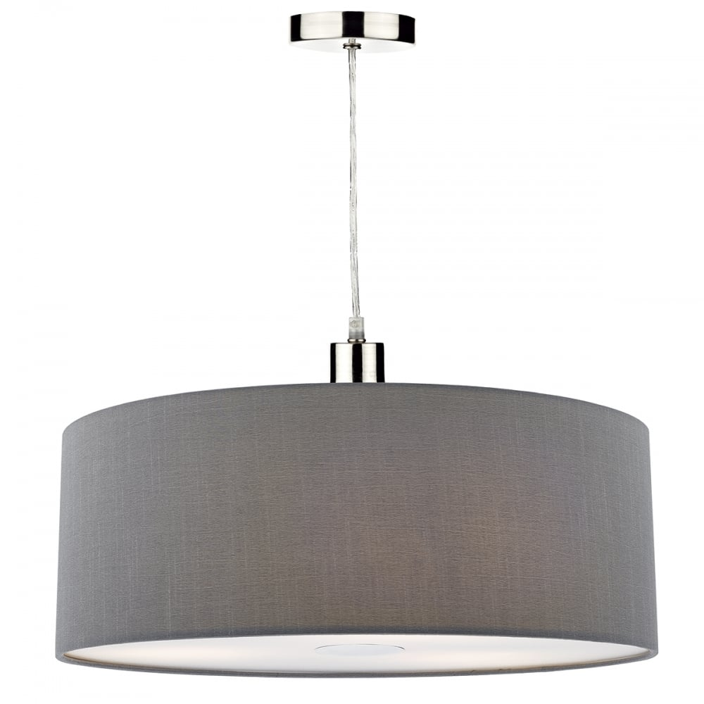 Contemporary Grey Faux Silk Easy Fit Pendant Shade with Diffuser