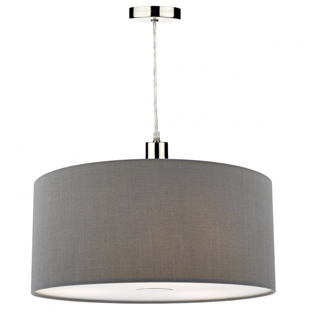 Contemporary Small Grey Faux Silk Easy Fit Pendant Shade
