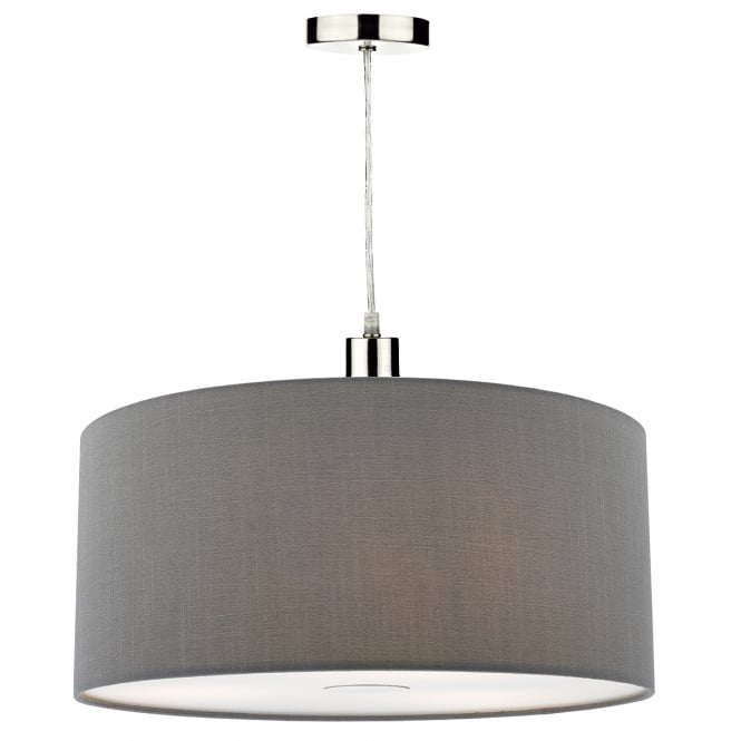 The Lighting Book RONDA faux silk grey easy fit pendant shade (small)