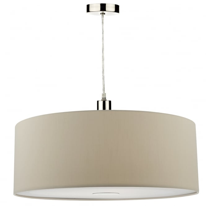The Lighting Book RONDA faux silk taupe easy fit pendant shade
