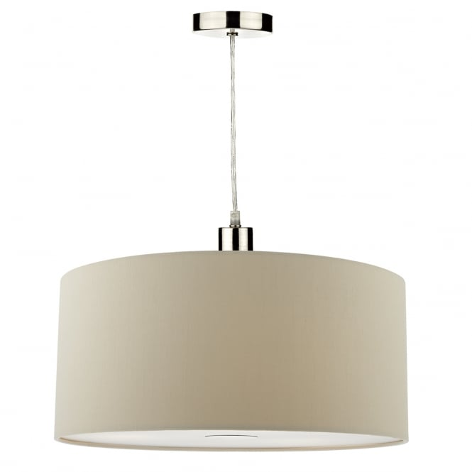 The Lighting Book RONDA faux silk taupe easy fit pendant shade (small)