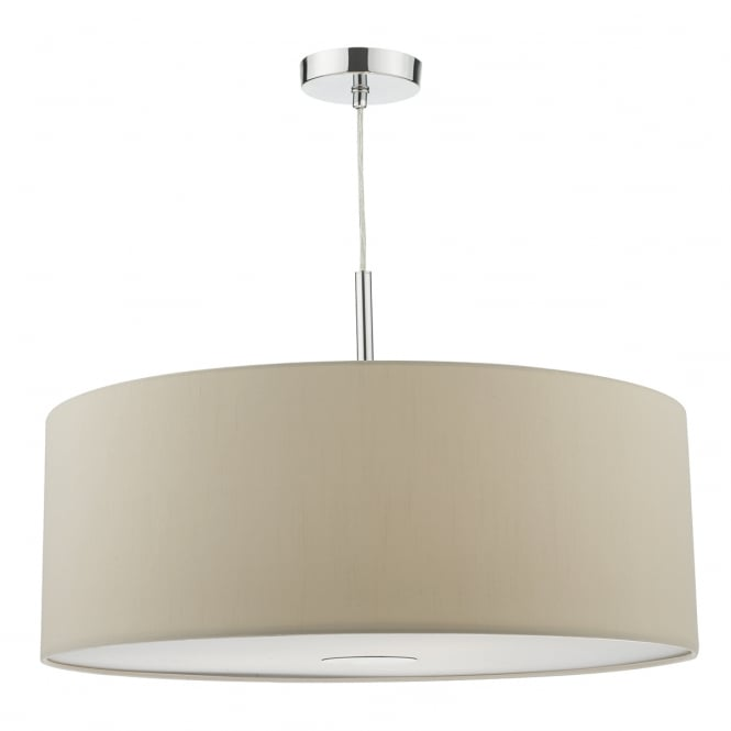 The Lighting Book RONDA modern 3 light ecru faux silk ceiling pendant with diffuser