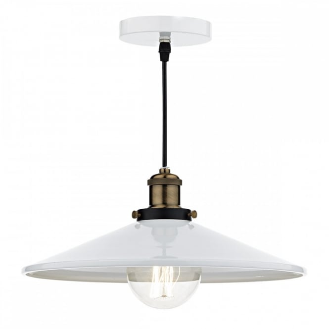 The Lighting Book ROOF vintage gloss white and brass ceiling pendant