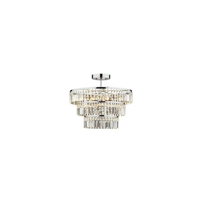 The Lighting Book ROWENA small chrome & crystal chandelier for low ceilings