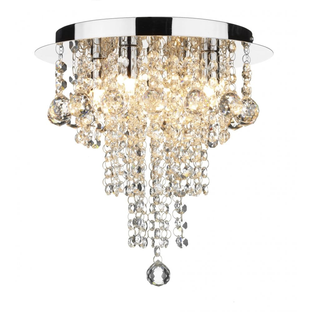 Low Ceiling Dining Room Chandelier: Crystal Circular Low Ceiling Light With Cascading Beads