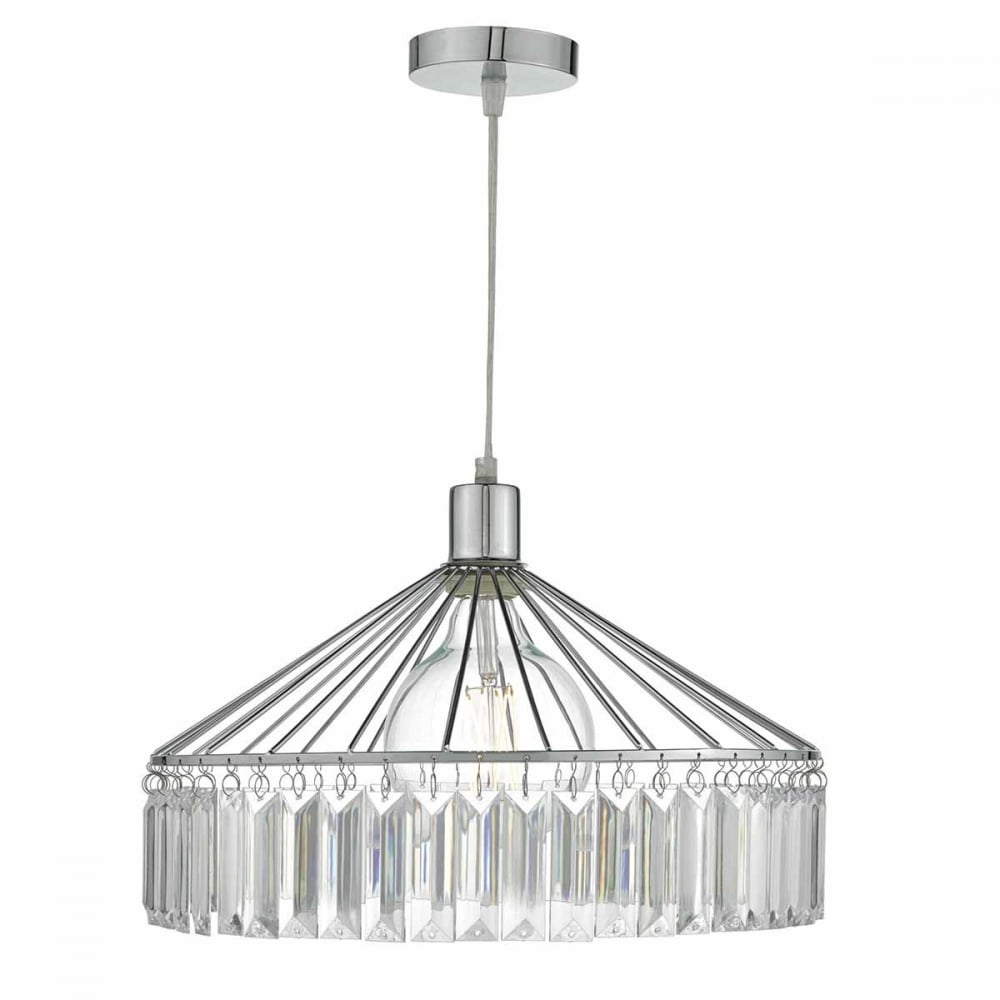 Rula chrome frame easy fit pendant shade with acrylic glass rula chrome frame easy fit pendant shade with acrylic glass mozeypictures Gallery