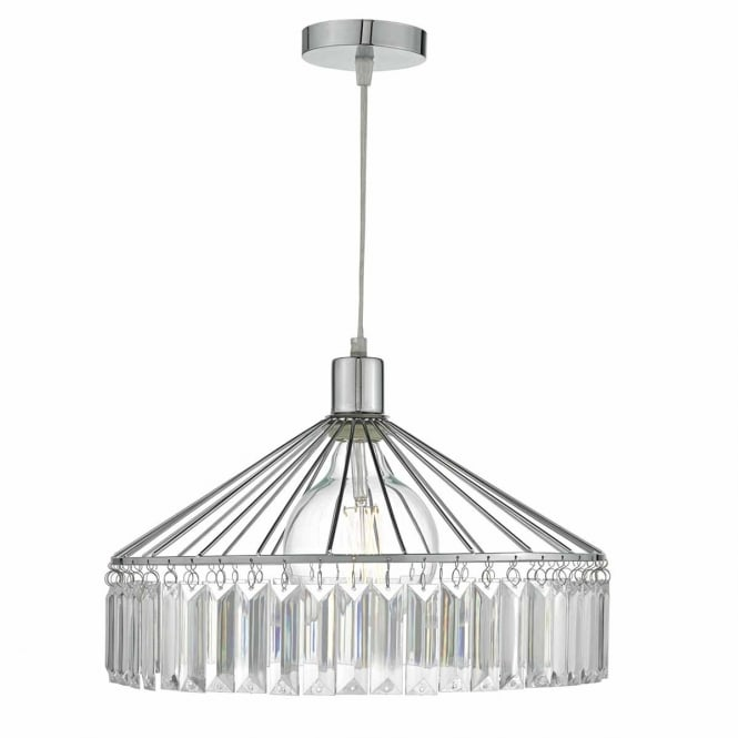 RULA chrome frame easy fit pendant shade with acrylic glass