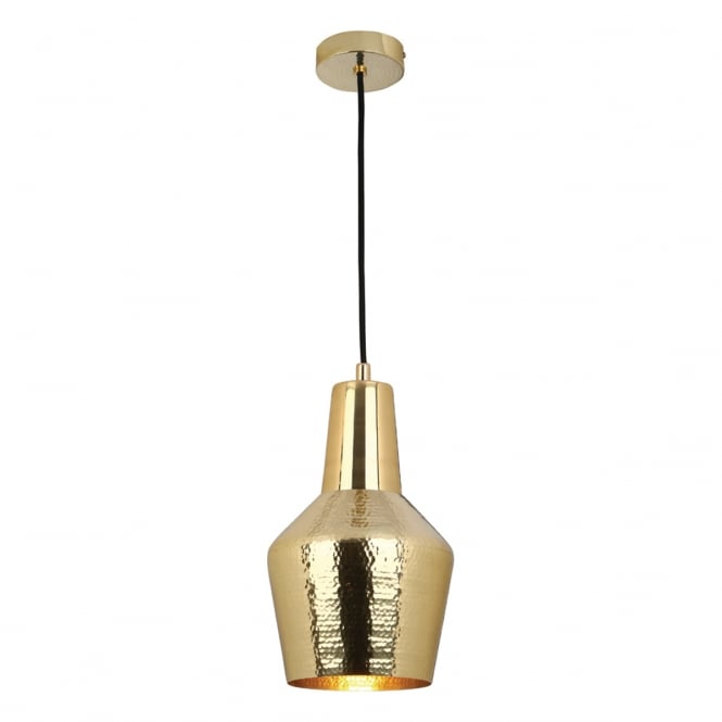 RUNA hammered gold single ceiling pendant light