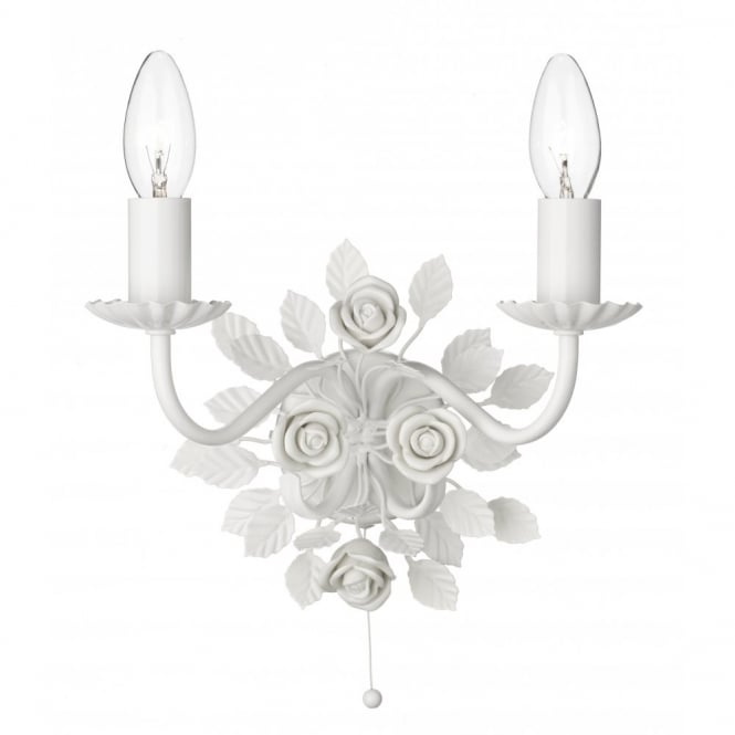 Saskia double candle wall light white ceramic roses pull switch saskia white floral wall light with pull cord mozeypictures Images
