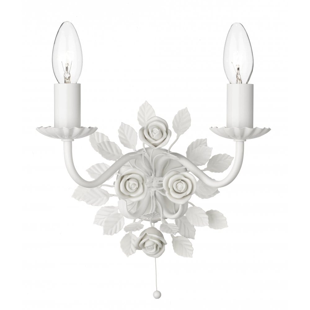 Saskia Double Candle Wall Light White Ceramic Roses & Pull Switch
