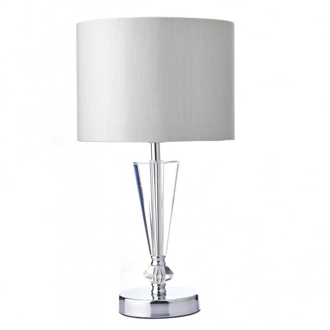 The Lighting Book SCIPIO polished chrome & clear modern table lamp with shade