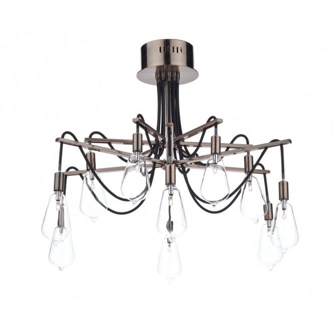 The Lighting Book SCROLL decorative 10 light semi flush copper ceiling light with bulb shaped glass shades