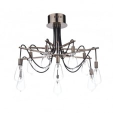 SCROLL decorative 10 light semi flush copper ceiling light with bulb shaped glass shades