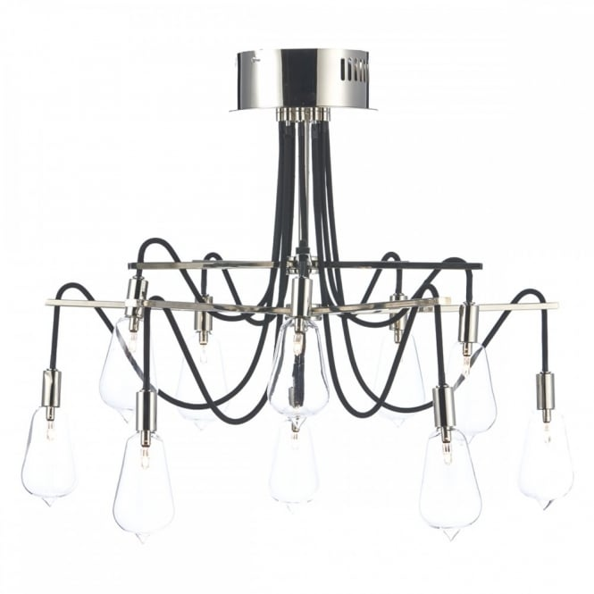 The Lighting Book SCROLL decorative 10 light semi flush nickel ceiling light with bulb shaped glass shades