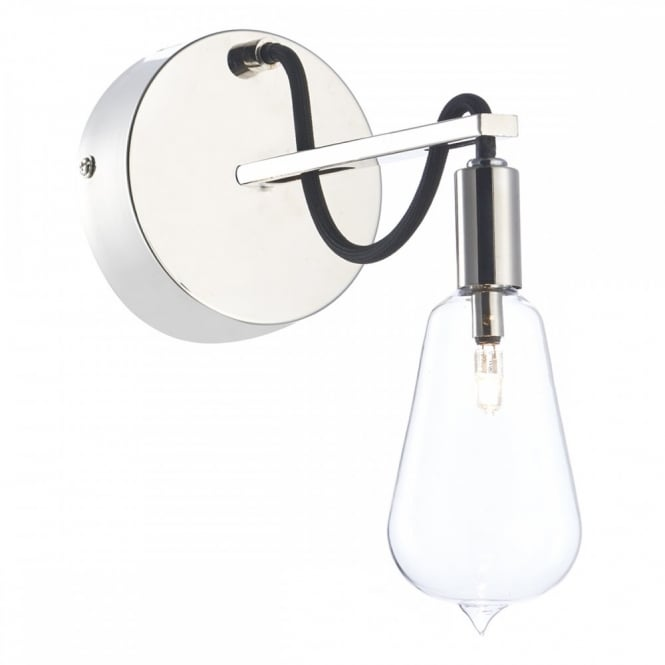 The Lighting Book SCROLL single nickel wall light with filament bulb shaped glass shade