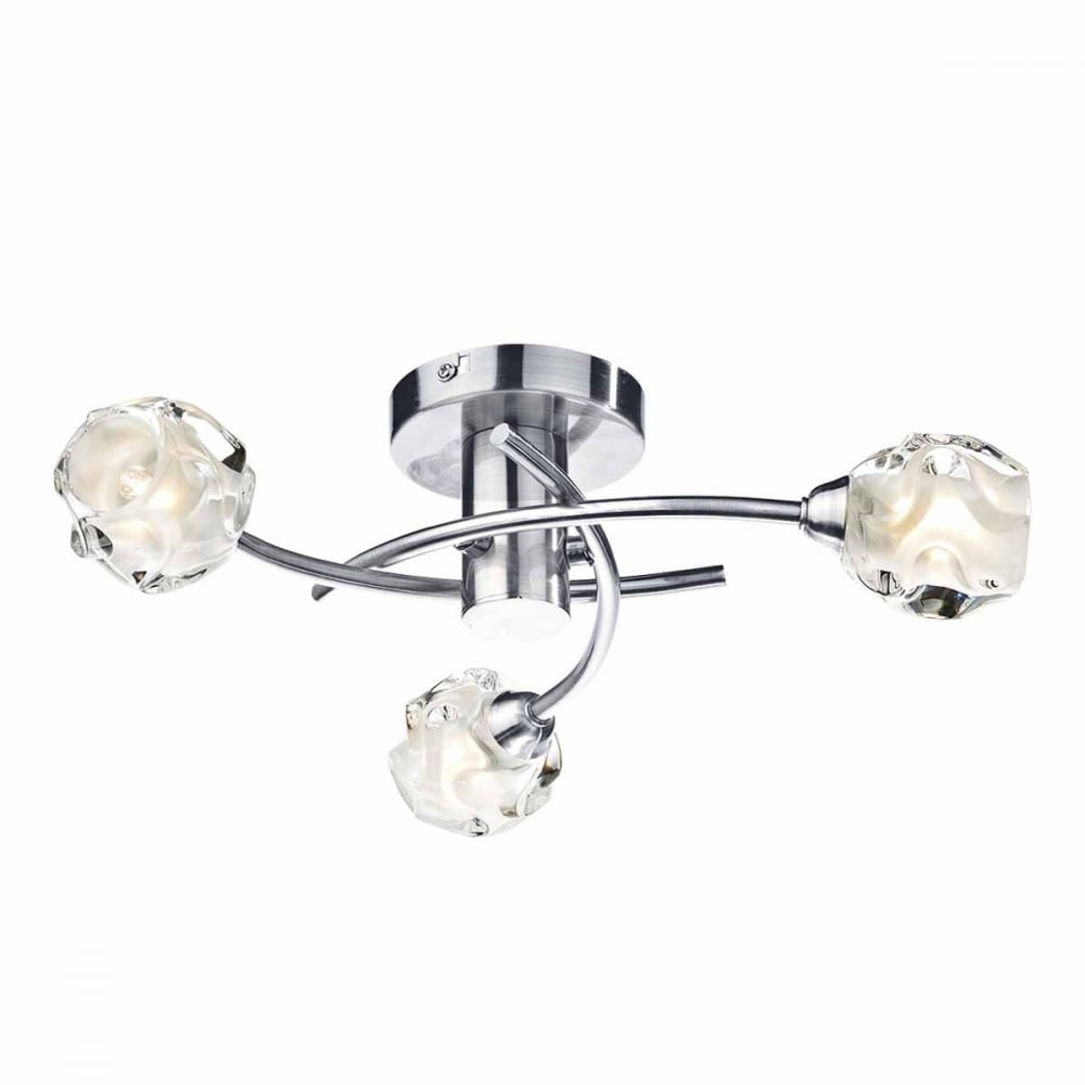 Seattle modern 3 light ceiling light in satin chrome with glass shades contemporary 3 light semi flush ceiling light in satin chrome aloadofball Image collections