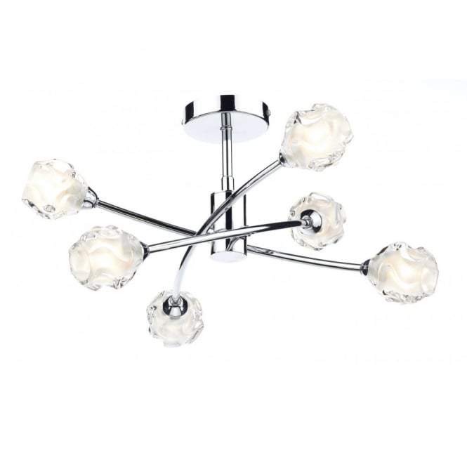 The Lighting Book SEATTLE 6 light semi flush ceiling light in chrome with glass shades