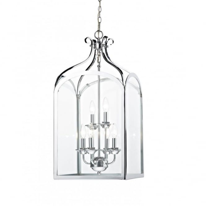The Lighting Book SENATOR large hall lantern chrome with long drop