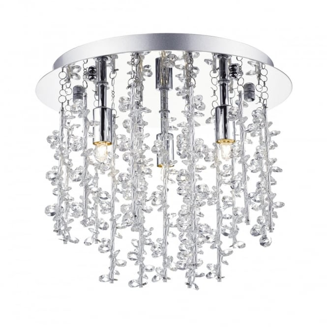 The Lighting Book SESTINA 3 light flush ceiling light in polished chrome with aluminium rods and crystal beads