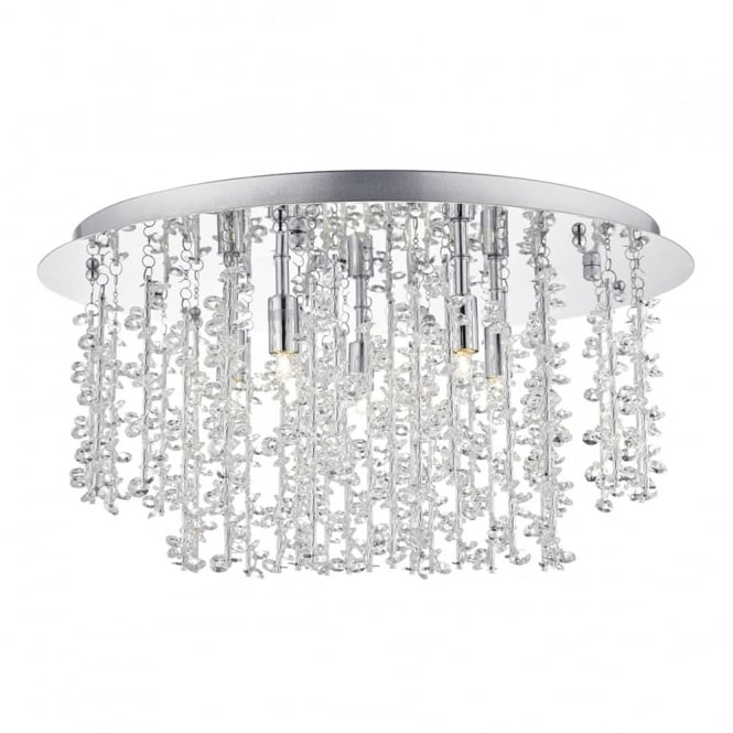 The Lighting Book SESTINA 5 light flush ceiling light in polished chrome with aluminium rods and crystal beads