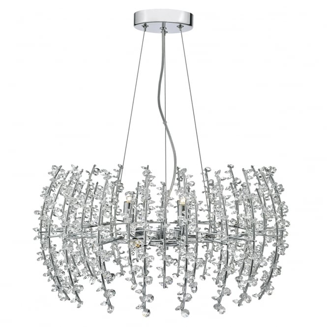 The Lighting Book SESTINA 6 light chrome frame pendant with crystal bead decoration
