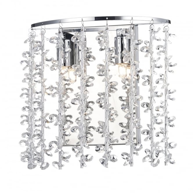 SESTINA modern wall light in polished chrome with aluminium rods and crystal beads