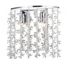 modern polished chrome wall light with aluminium and crystal bead shade