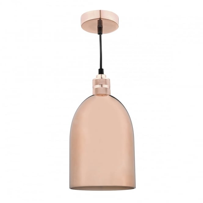 The Lighting Book SEWELL high polish easy fit copper glass pendant shade