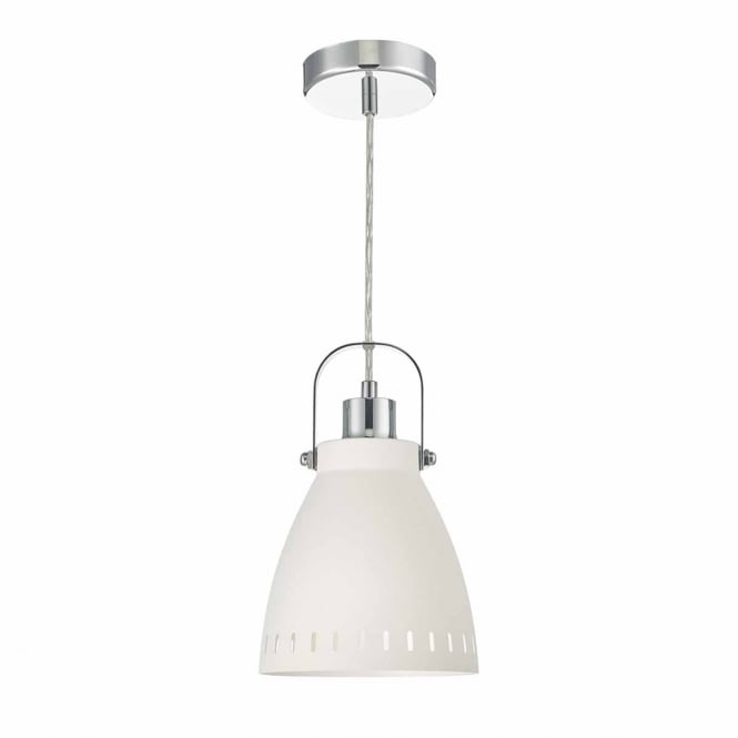 SIGURD white and polished chrome ceiling pendant