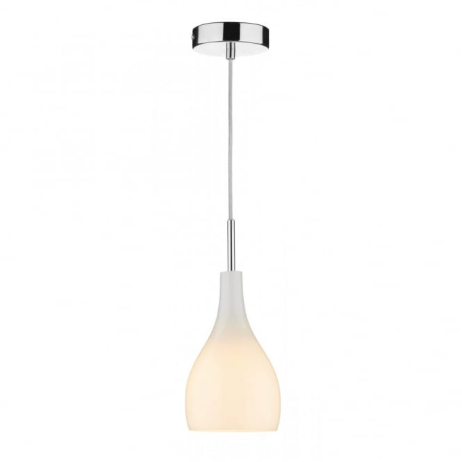 Soho Single Opal White Glass Mini Pendant Light On Clear Cable