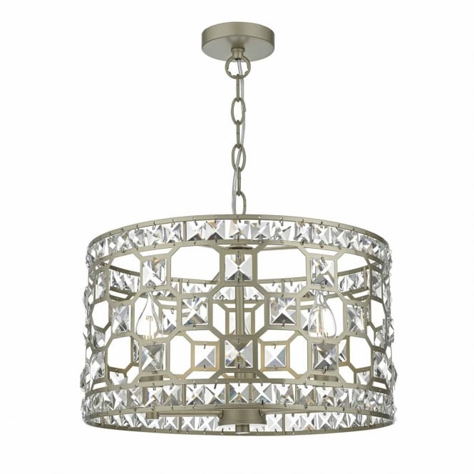 SOIRE decorative gold and crystal 3 light ceiling pendant