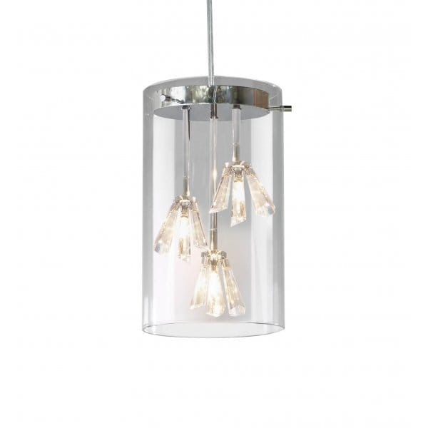 Tube Shaped Clear Glass Ceiling Pendant Light With Crystal