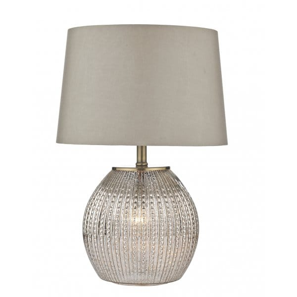 Antique Silver Table Lamp 24 Cream Accent Lighting: Decorative Antique Silver Glass Table Lamp With Shade