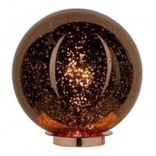SPECKLE glass globe table lamp with dappled copper finish